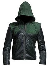Green Arrow Stephen Amell Oliver Queen Hooded Costume Leather Jacket image 1