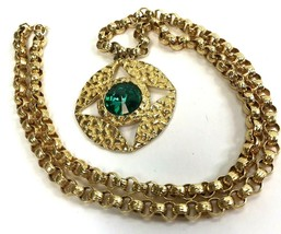 Necklace Dauplaise Green Pendant Byzantine Style Vintage long chain statement - $34.60