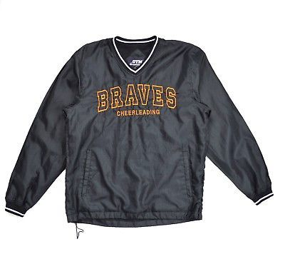 Primary image for Vtg BRAVES CHEERLEADING Black Weather Resistant Mesh Lined Canvas Shirt Jacket M