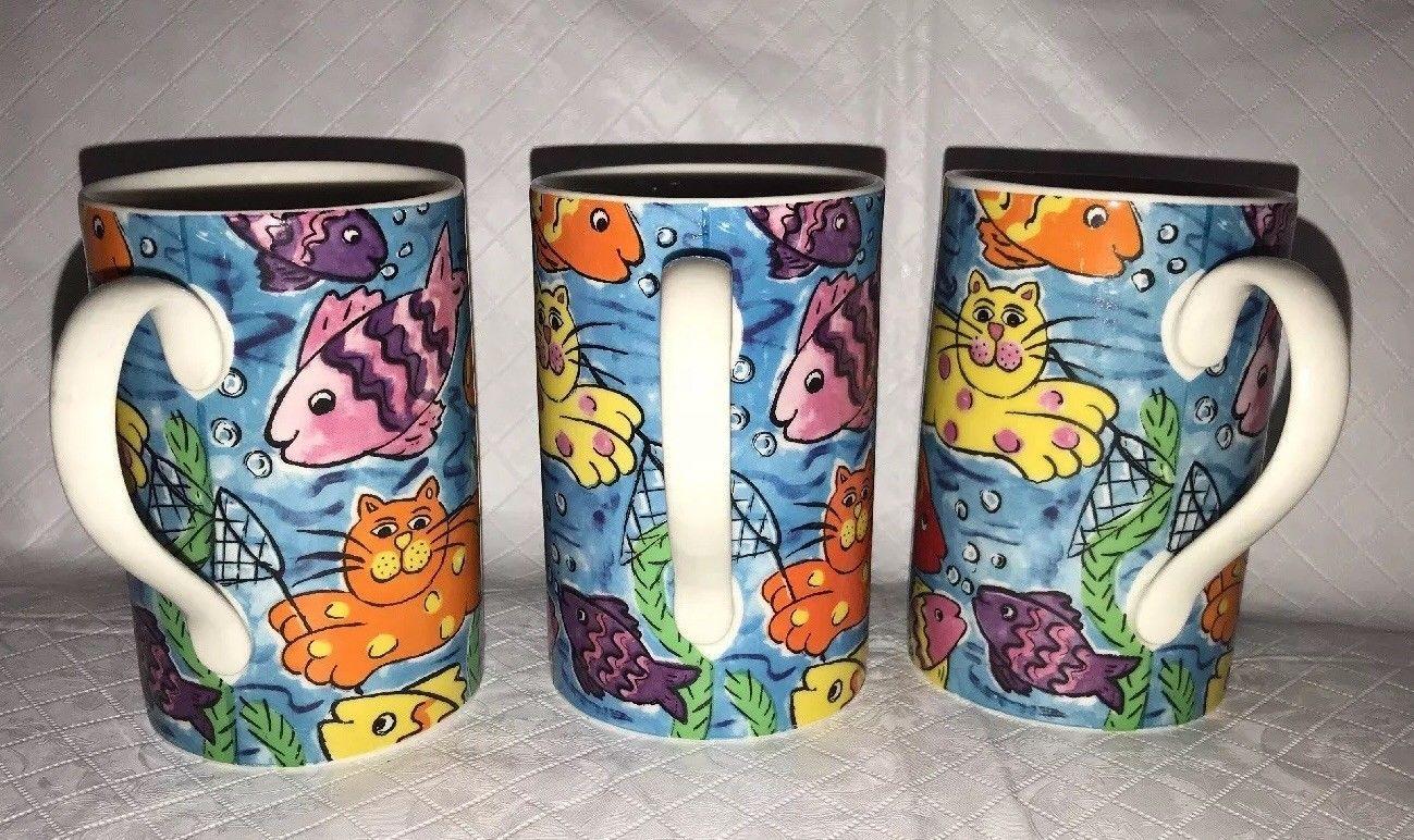 "Dunoon Stoneware Crazy Cats Mug Cup 4"" Scotland Cats & Fish Jane Brookshaw 10oz"