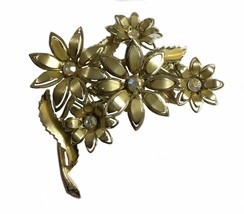 Vintage Gold Toned Costume Jewelry Brooch Designer Signed Coro Flowers F... - $22.56