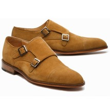 Handmade Men's Brown Double Monk Strap Buckle Dress Suede Shoes image 3