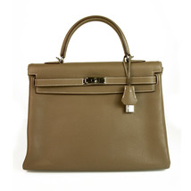 Hermes Kelly 35 Taupe Togo Leather with Palladium Hardware mint condition w. Box - $9,890.10