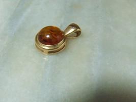 Vintage 14k Gold Baltic Amber Pendant  - $195.03