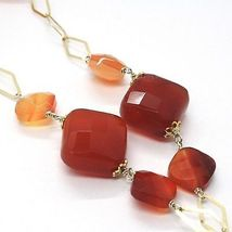 Silver necklace 925, Yellow, Brown Agate Square Drop Pendant image 3