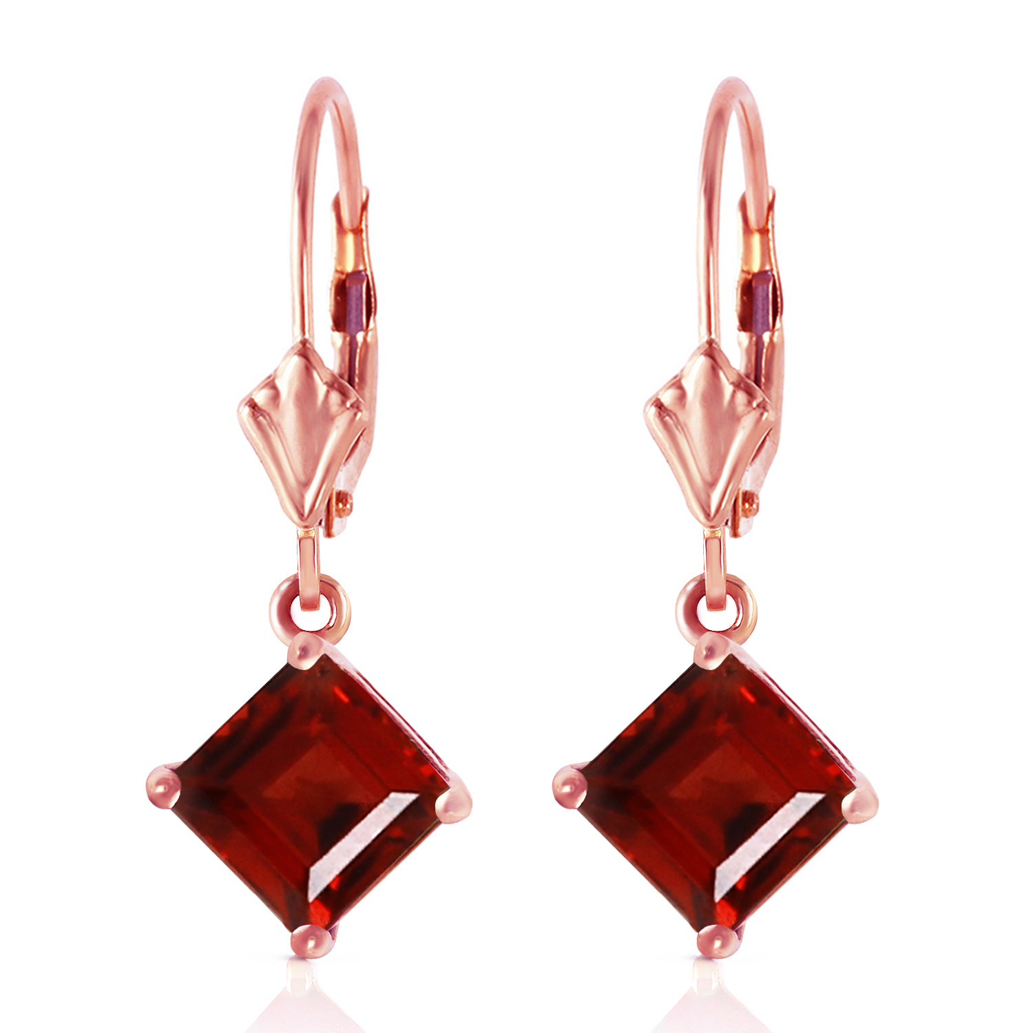 Primary image for 3.2 Carat 14K Solid Rose Gold Garnet Simplicity Earrings Womens Natural Gemstone