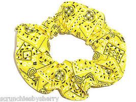 Yellow Bandana Hair Scrunchie Scrunchies by Sherry Ponytail Holder Cotton Fabric - $6.99