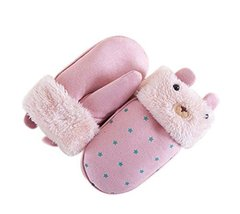 Children Hanging Neck Gloves Warm Winter Mittens Cute Mittens Plush Gloves PINK