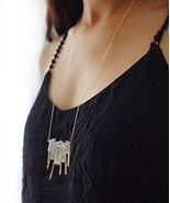 Long Gold Bar Raw Druzy Quartz Crystal Boho Style Necklace, Quartz Point... - $17.82
