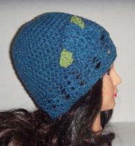 Blue Crochet Beanie  Hat, Hat with Flower, Spring Hat, Summer Hat, Flowe... - $20.00