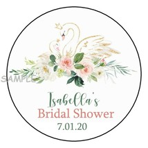 12 Personalized Pretty Swan Bridal Shower Stickers Favors Labels tag 2.5... - $8.99