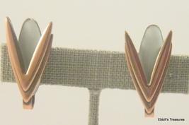 matisse solid copper white baked enamel star trek-ish clip on earrings  ... - $19.95