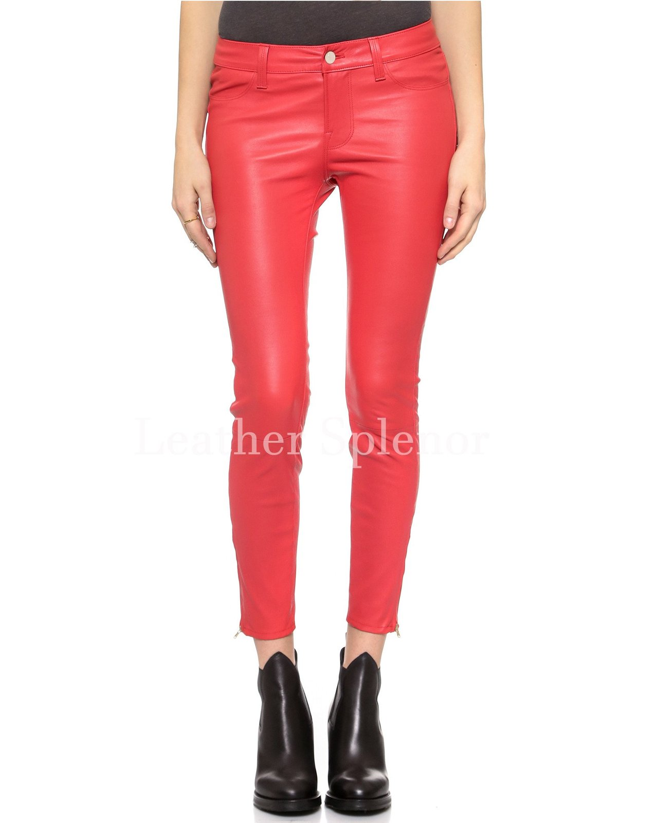 Sexy Cropped Skinny Women Leather Pant