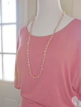 Pink Crystal Necklace, Long Beaded Necklace, Pink Macrame Necklace Earrings Set
