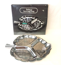 Vintage stainless steel deluxe serving tray leaf shaped divided dish wit... - $5.00