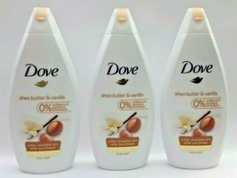 3 Pk ~ DOVE Shea Butter & Vanilla Moisturizing Body Wash Bath 16.9 Oz Ea... - $27.68