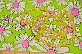 vintage Japan multistrand translucent iridescent yellow beaded necklace Japanese - $12.86
