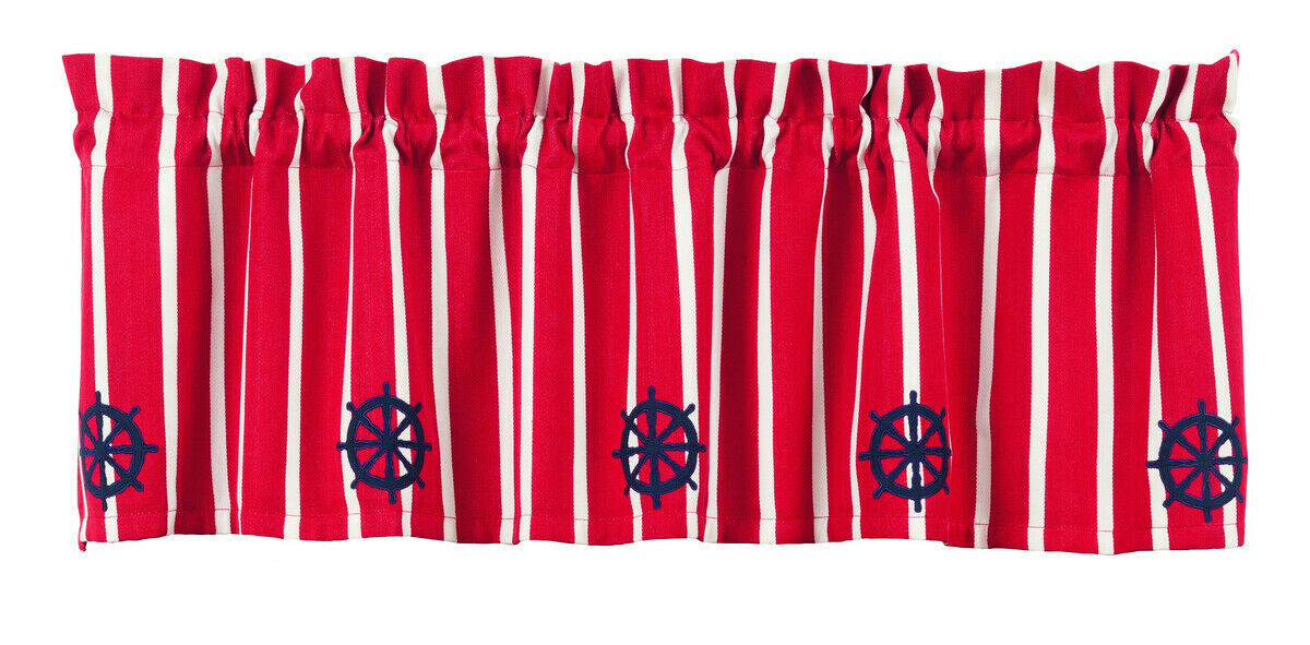 Primary image for maritime navy nautical ship blue Steering Wheel red white stripe VALANCE curtain