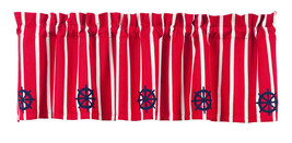 maritime navy nautical ship blue Steering Wheel red white stripe VALANCE curtain - $31.95