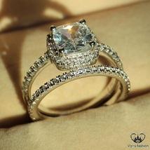 Cushion Cut CZ Bridal Wedding Ring Set 14k White Gold Plated 925 Sterling Silver - $89.45