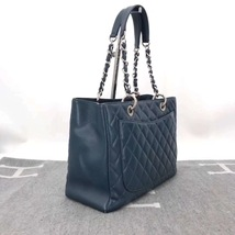 RARE AUTH CHANEL BLUE QUILTED CAVIAR GST GRAND SHOPPING TOTE BAG image 3