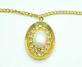 Pcraft Pink Pastel Faux Pearl Gold Tone Medallion Pendant Necklace Vinta... - $19.79