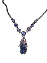 Givenchy Pink & Purple Hued Crystal Necklace w/ Hematite-Tone Chain Y Si... - $35.63