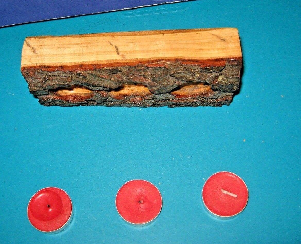 Slab Cut Pine Log Christmas Candle Holder For Tea Lights Or LED Lights