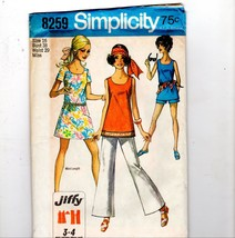 1969 Simplicity Groovy Mod GoGo Mini Tunic Dress Pants Shorts Sewing Pat... - $8.42