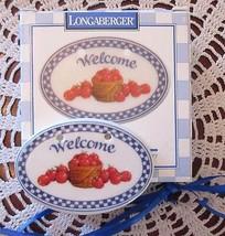 Longaberger Basket WELCOME Apple Basket Ceramic Tie-On New In Box - $15.00