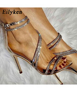 Eilyken Sparkling champagne Black Diamond Crystal High Heels Women Sanda... - $51.13