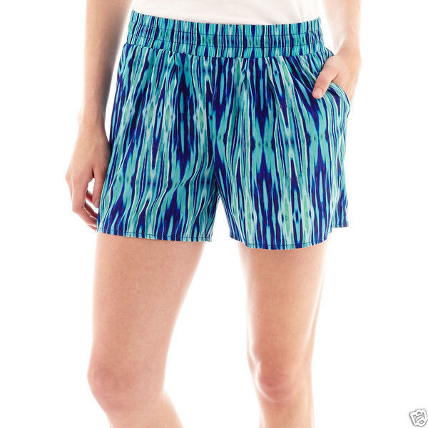 Primary image for a.n.a Lightweight Beach Shorts Blue Ikat Summer Size PL New Msrp $26.00