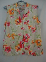 EUC Liz Claiborne Floral Hawaiian Women's casual top Size M Sleeveless Tan - $14.84