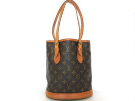 Authentic LOUIS VUITTON Monogram Canvas Leather Petit Bucket Bag - $261.84