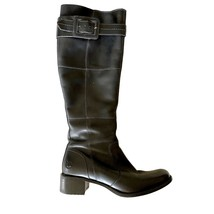 TIMBERLAND Smart Performance Tall Buckle Black Leather Boots Shoes Women... - $45.39