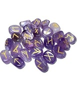 Natural Amethyst Stones Rune Set Healing Reiki Tumble Stones Pouch 25 PC  - $17.99