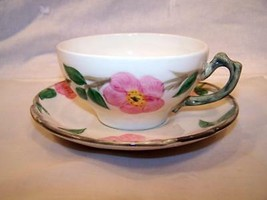 """Franciscan Desert Rose 2 1/4"""" Flat Cup and Saucer USA Back Stamp - $9.99"""