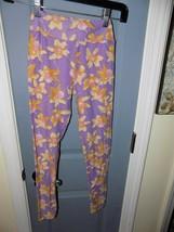 Lularoe  Purple Yellow Floral Daffodil Leggings Size Tween Girl's EUC - $23.70
