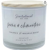Scentsational Pine & Clementine  Candle Large Glass Jar 26oz 3 Wick Coco... - $29.99