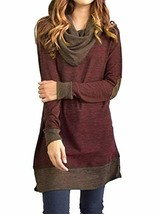 Sunfung Women's Casual Long Sleeve Tops Cowl Neck Two Tone Color Block P... - $29.99