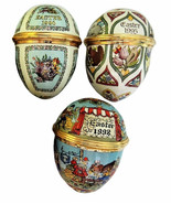 Halcyon Days Enamels Easter Eggs Dated 1990, 1995, 1998 - $225.00