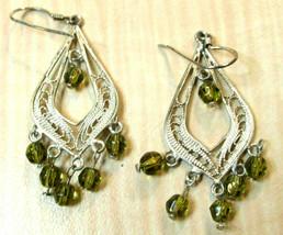 Vintage 925 Sterling Silver beaded drop pierced Earrings - $9.89