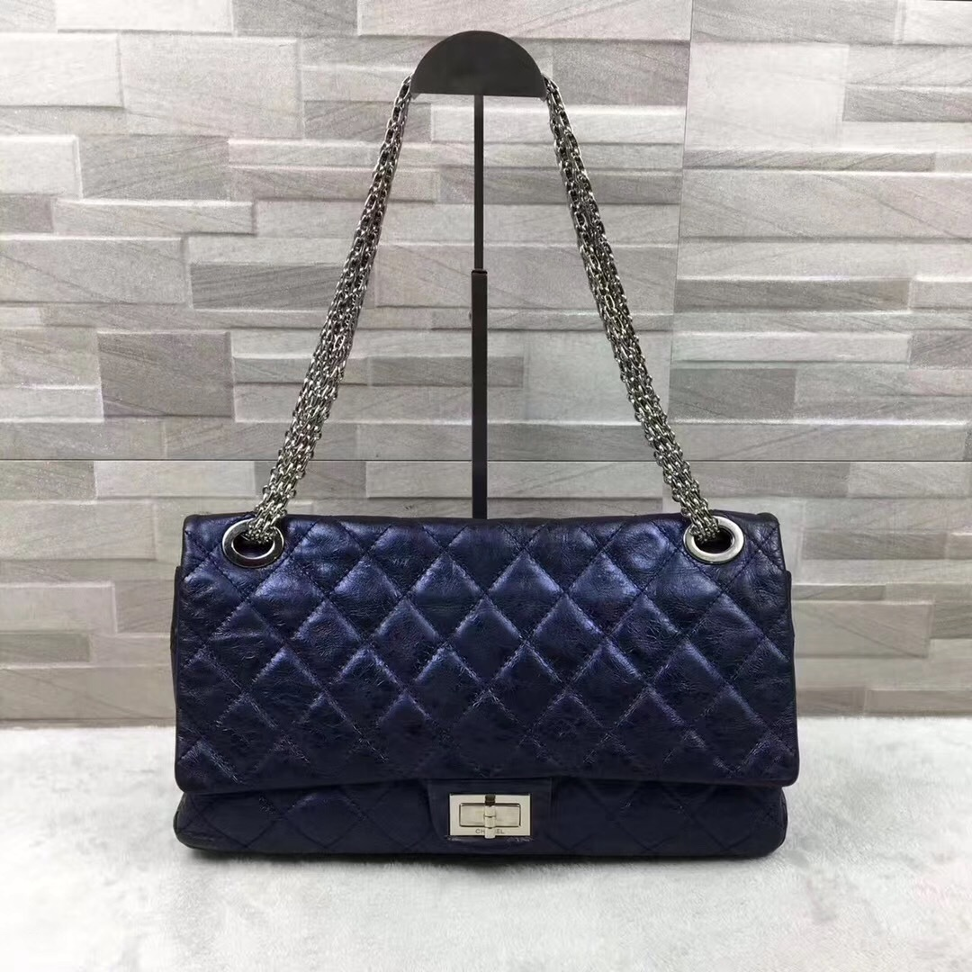 Auth Chanel Metallic 2.55 Reissue Quilted Calfskin 227 Jumbo Double Flap Bag