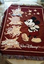 Walt Disney World Mickey Mouse Tapestry Throw Blanket Wizard Castle Epcot - $23.36