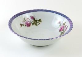 Vintage Lusterware Serving Bowl, Beautiful Purple Trim with Floral Desig... - $11.87
