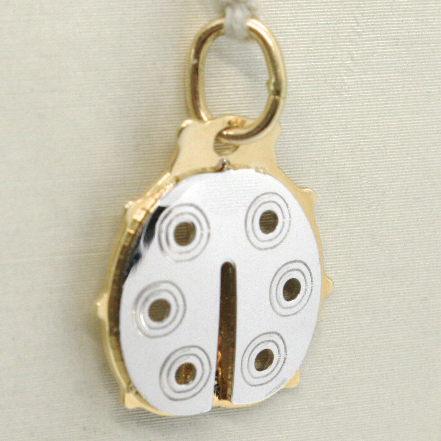 18K YELLOW & WHITE GOLD LADYBUG PENDANT, CHARMS, FINELY WORKED, MADE IN ITALY