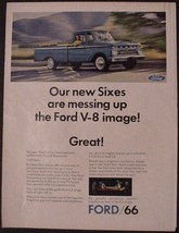 "1966 Ford Pickup blue truck ""messing up Ford V-8 image"" vintage print Ad - $7.95"