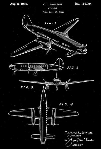 Primary image for 1939 - Lockheed Airplane - C. L. Johnson - Patent Art Poster