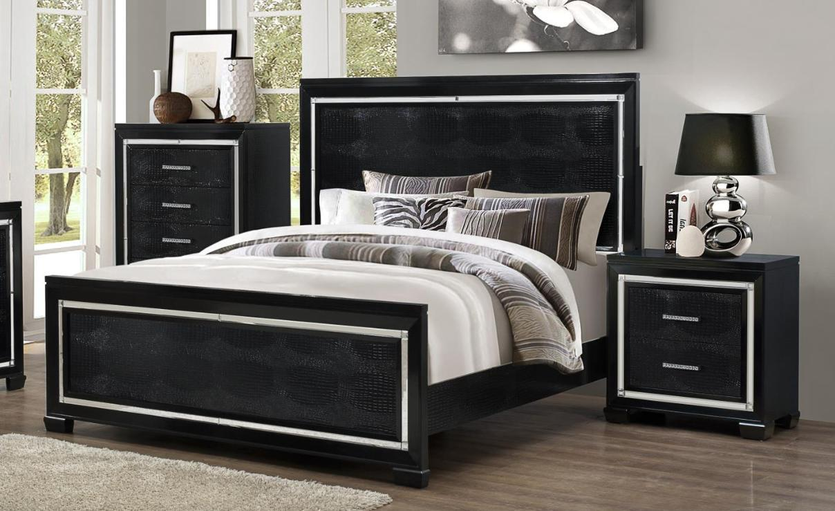 ideas for bedrooms myco furniture lu730 k luca black crocodile texture king 11825