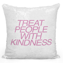 Sequin Throw Pillow Modern Home Decor Flip kindness Pillows Silver Toss Pillows - $34.25